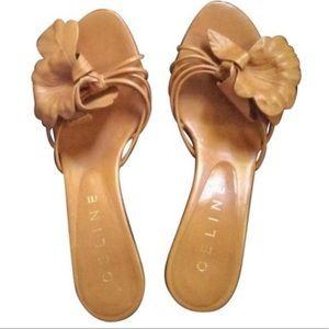 Celine Tan Leather Peep-Toe Kitten Heels Size 5.5